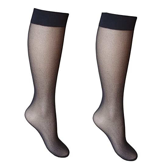 23757811a Mytoptrendz® Womens Knee Highs Sheer 15 Denier Pop Socks with Comfort Cuff Ladies  Sheer Socks (Black -4 pair)  Amazon.co.uk  Clothing