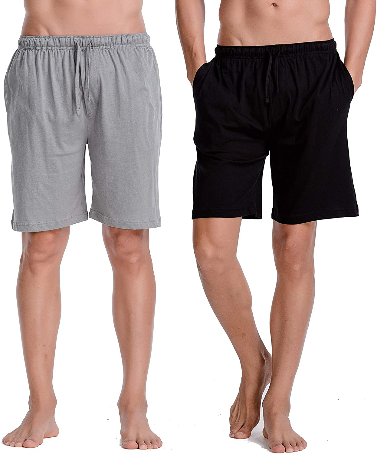 CYZ Mens Comfort Cotton Jersey Shorts with Pockets-BlackGreyMelange2PK-L