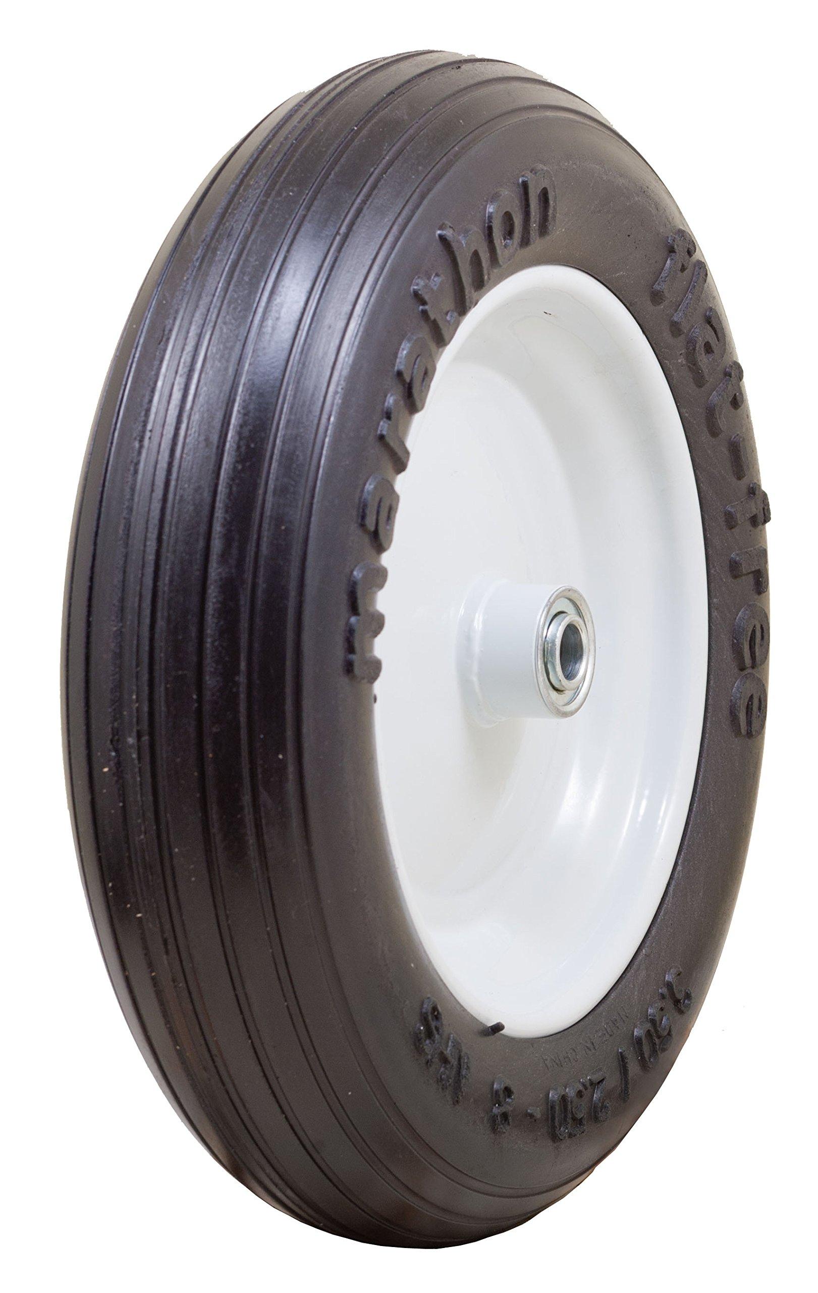 Marathon 3.50/2.50-8'' Flat Free Tire on Wheel, 3'' Hub, 5/8'' Bearings