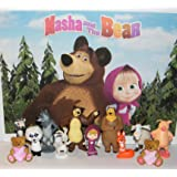 HappiToys Masha and The Bear Deluxe Figure Set of 12 Toy Kit with 2 Cutie BearRings and 10 Figures Featuring Masha, Bear, 2 Wolfs, Rosie, Panda, Squirrel and More!