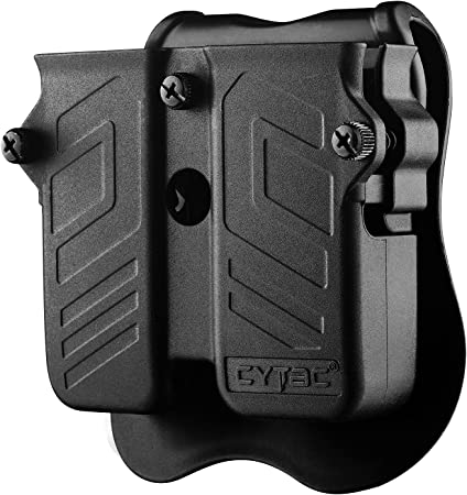 Double Magazine Pouch Fit 9mm 10mm .40 .45 Caliber Dual & Single Stack Magazines - Universal Mag Holder   Polymer Paddle Holster   Adjustable Size & Cant   Ambidextrous   Outside Waistband   Black