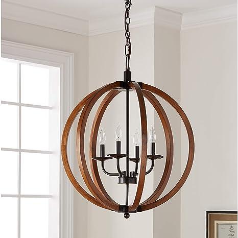 Vineyard Orb 4 Light Chandelier Sturdy Metal And Wood Frame For