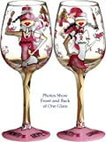 Bottom's Up 15-Ounce Fight Like a Girl Handpainted Wine Glass