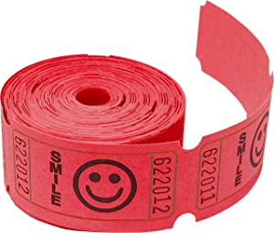 Tacticai 200 Red Raffle Tickets (8 Colors Available) for Events, Entry, Class Reward, Fundraiser & Prizes (Single Roll - 2