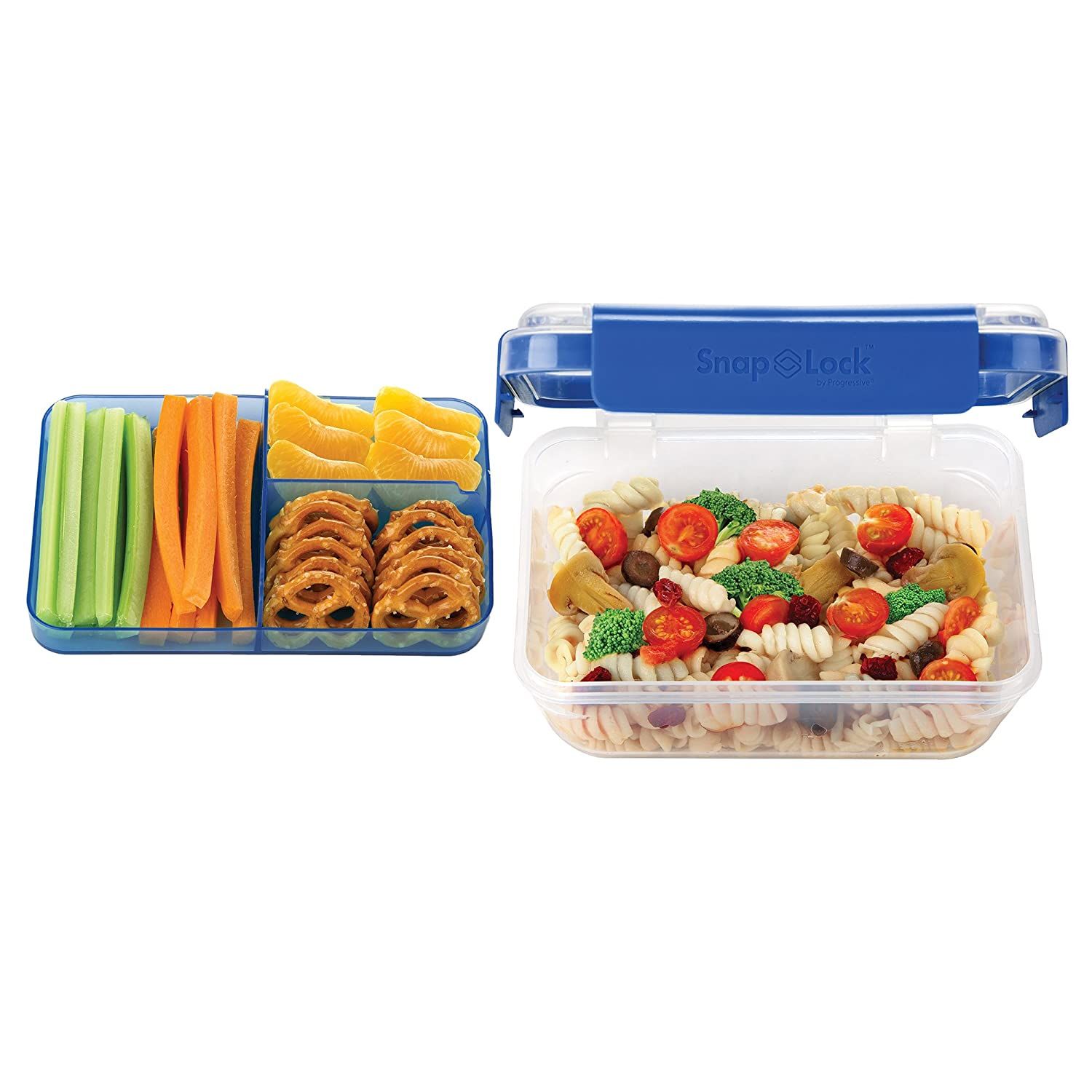 SnapLock by Progressive Bento-To-Go Container - Blue, SNL-1021BEasy-To-Open, Leak-Proof Silicone Seal, Snap-Off Lid, Stackable, BPA FREE
