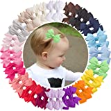 VINOBOW 40Pcs 2Incn Small Pigtail Toddler Bows with Half Ribbon Lined Alligator Hair Clips For Baby Girls Kids Children