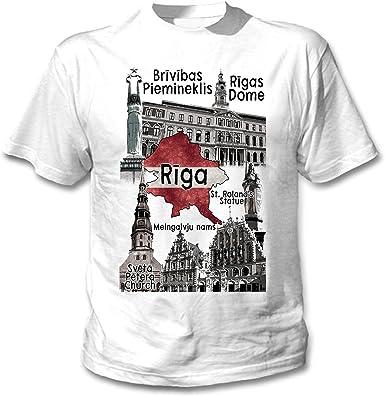 teesquare1st Riga Latvia Camiseta Blanca para Hombre de Algodon ...