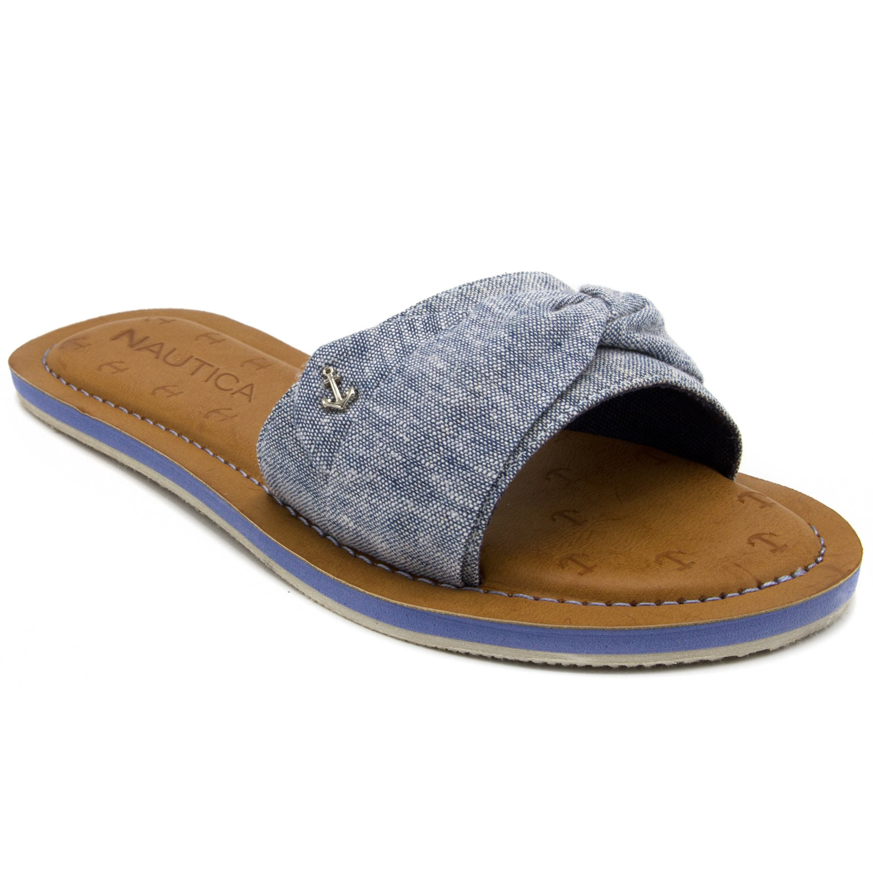 Nautica Women's Hobson Fashion Sandal, Flat Slide with Fabric Strap-Chambray-6