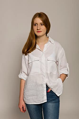 41b22df6119 Image Unavailable. Image not available for. Color  Women s White Linen Shirt  - Casual Button Down Shirt with Two Pockets ...
