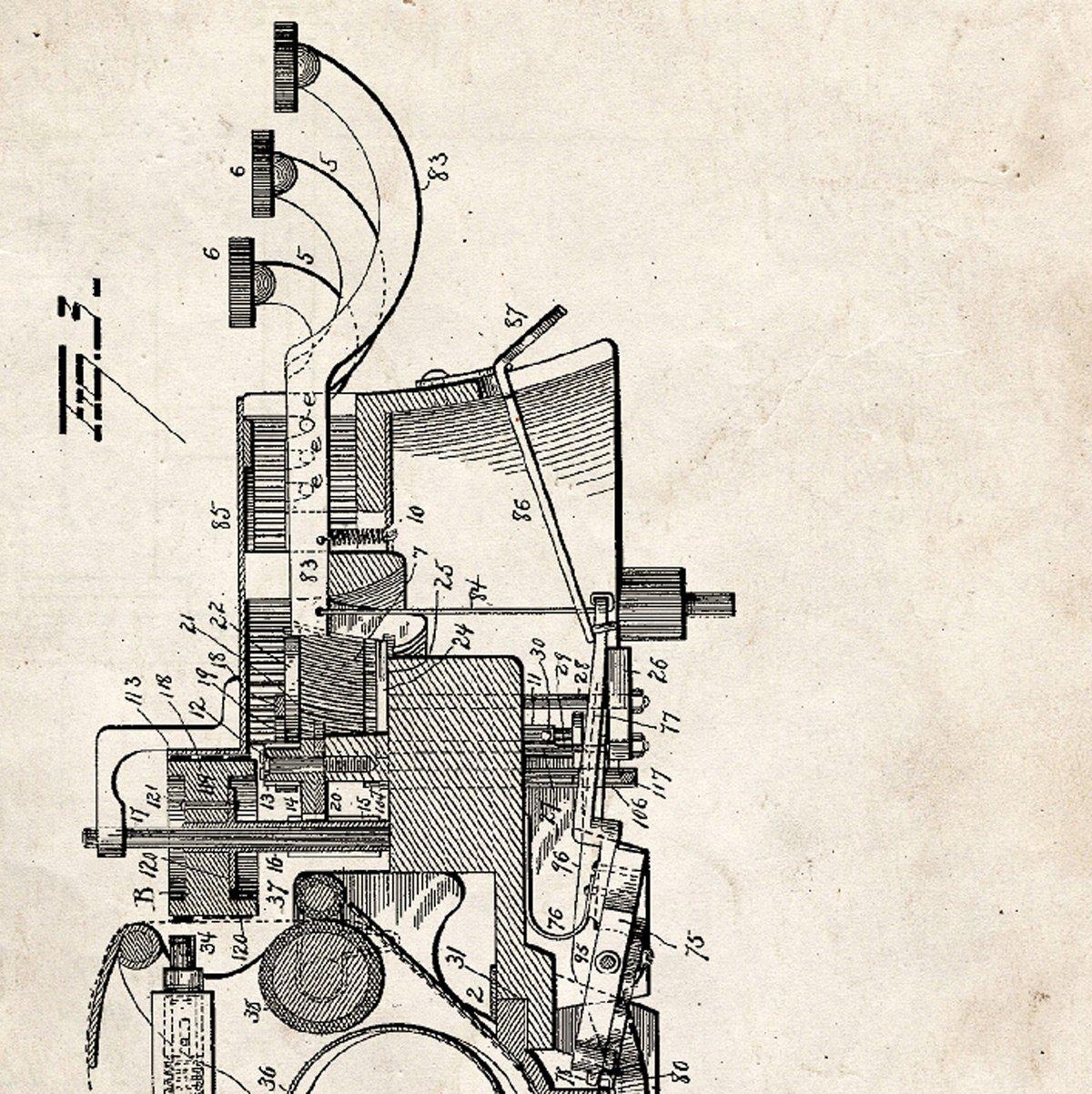 Nacnic Vintage - Pack de 4 láminas con Patentes de MAQUINAS DE Escribir. Set de Posters con inventos y Patentes Antiguas. Elije el Color Que más te ...