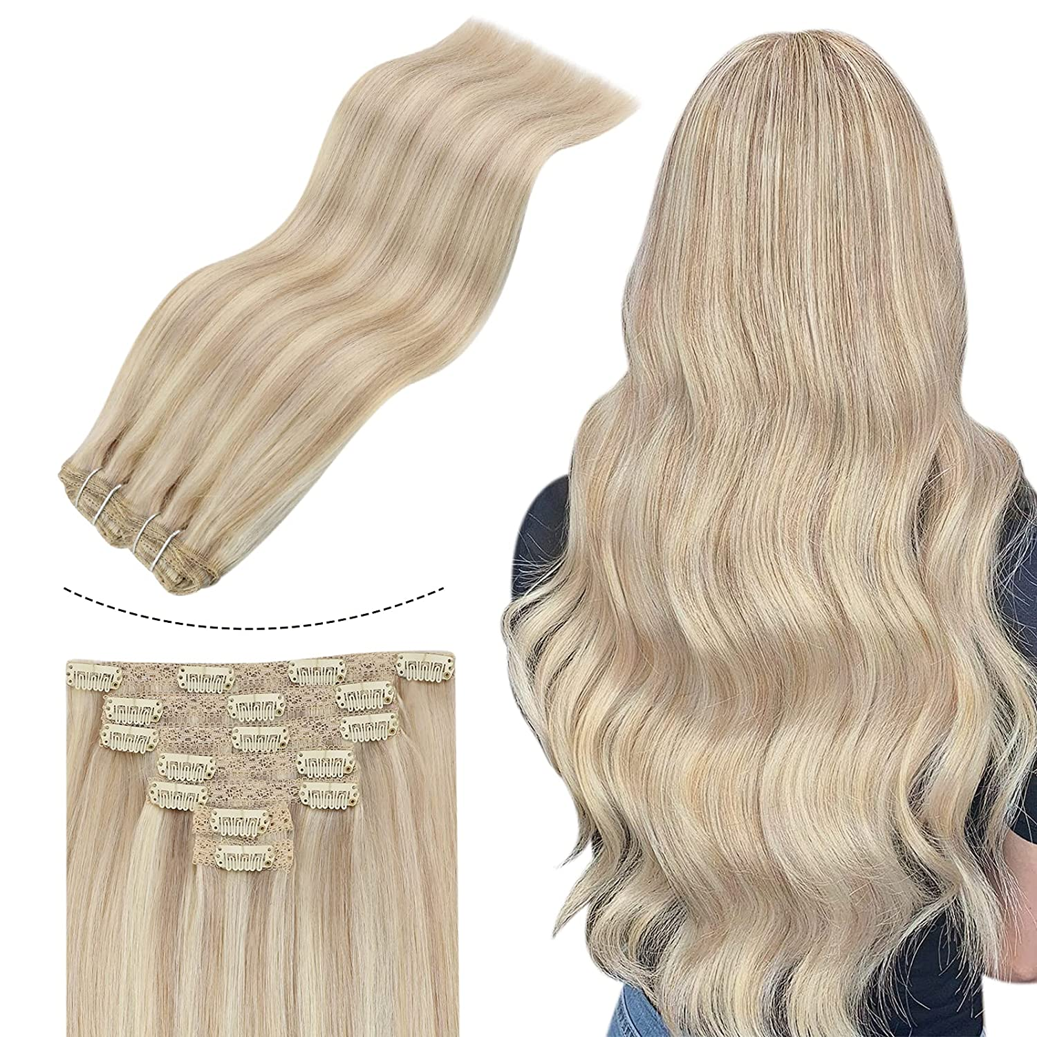 JoYoung Blonde Human Las Vegas Mall Hair Extensions Clip in Seamless overseas