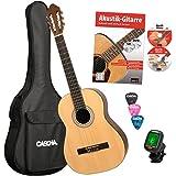 CASCHA HH 2043 DE Konzertgitarre 4/4 Bundle, natur matt, Fichtendecke, Gitarrenschule mit CD + DVD, Stimmgerät, gepolsterte Tasche mit Notenfach und Rucksackgarnitur, 3 Plektren