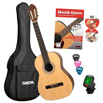 CASCHA HH 2043 DE Guitarra Clásica 4/4 Bundle, mate natural, tapa de ...