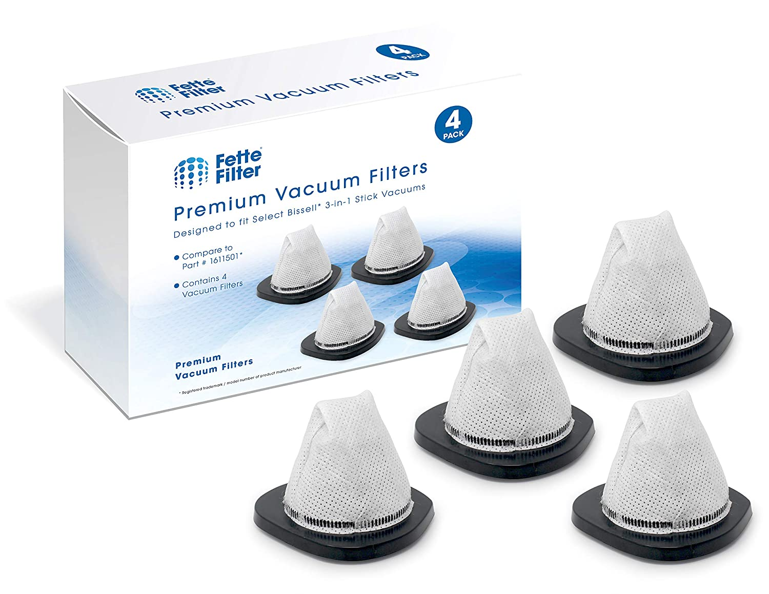 Fette Filter - Vacuum Filters Compatible with Bissell 3-in-1 Stick Vacuums. Compare to Part # 1611501. 4-Pack