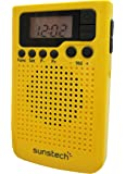 Sunstech rpds10yl–Radio portable numérique (am/fm PLL, haut-parleur, horloge, clip) couleur jaune