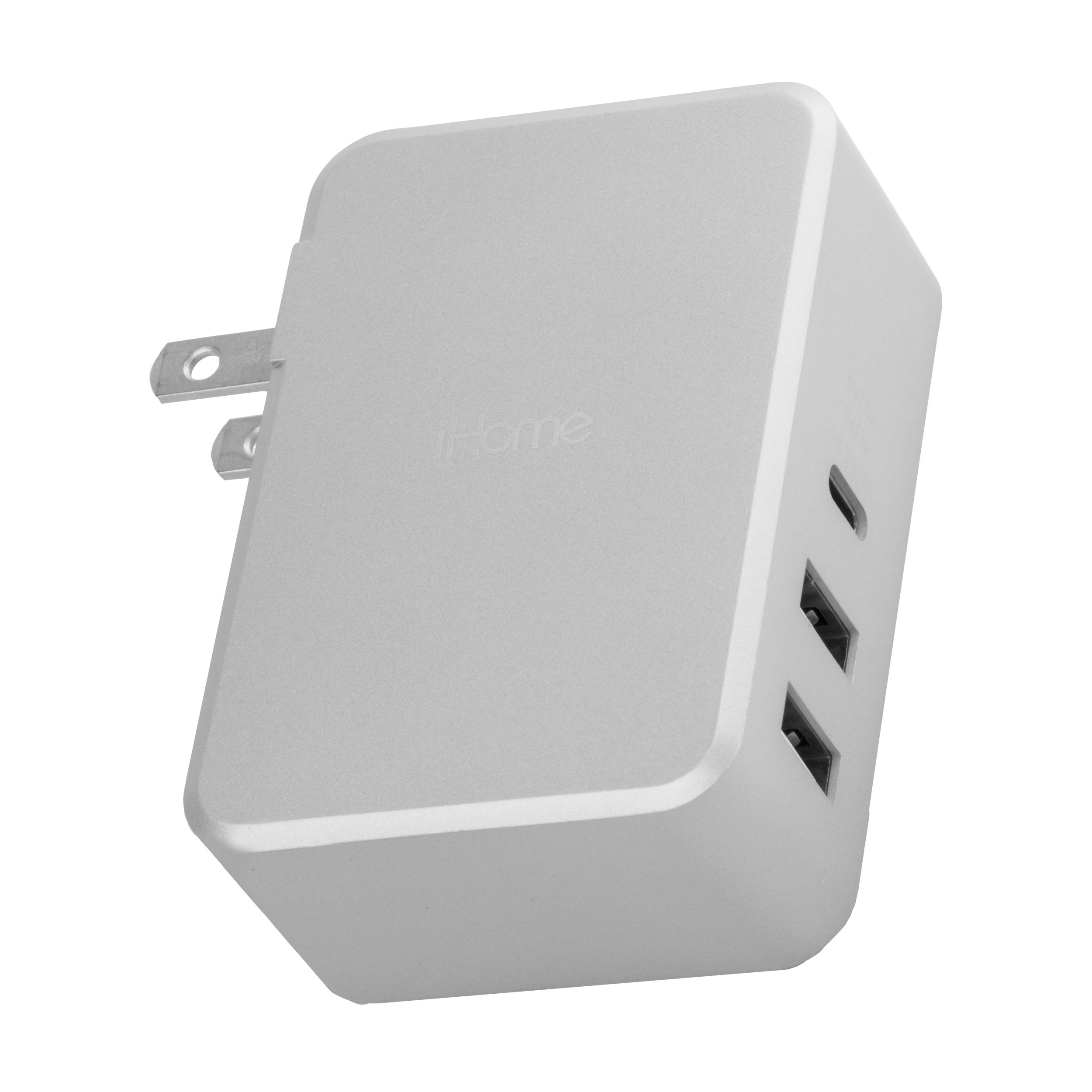 iHome USB Type-C 3-Port 45W Rapid Portable Wall Charger. Power Delivery Port for Apple Macbook, iPhone X/8/8 Plus, Nintendo Switch & More. Includes 6Ft USB-C Braided Cable -Silver