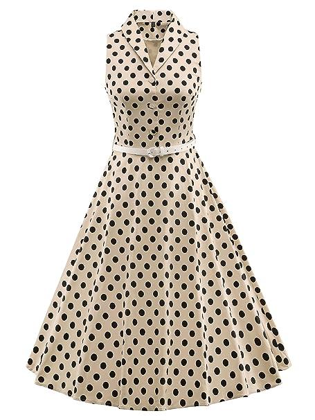 LUOUSE 'Luna' - Vestido vintage con colores solidos, estilo Swing, añ