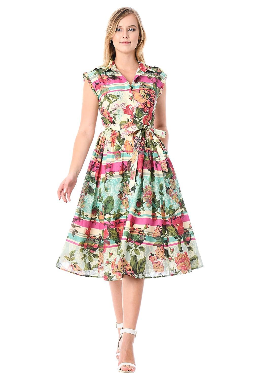 Vintage Tea Dresses, Floral Tea Dresses, Tea Length Dresses eShakti Womens Floral Stripe Print Ruffle Trim Cotton shirtdress $69.95 AT vintagedancer.com