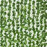 JPSOR Vinhas artificiais de 24 fios de vinhas falsas Ivy Ivy, 75 metros de seda, verde guirlanda, planta para pendurar para d
