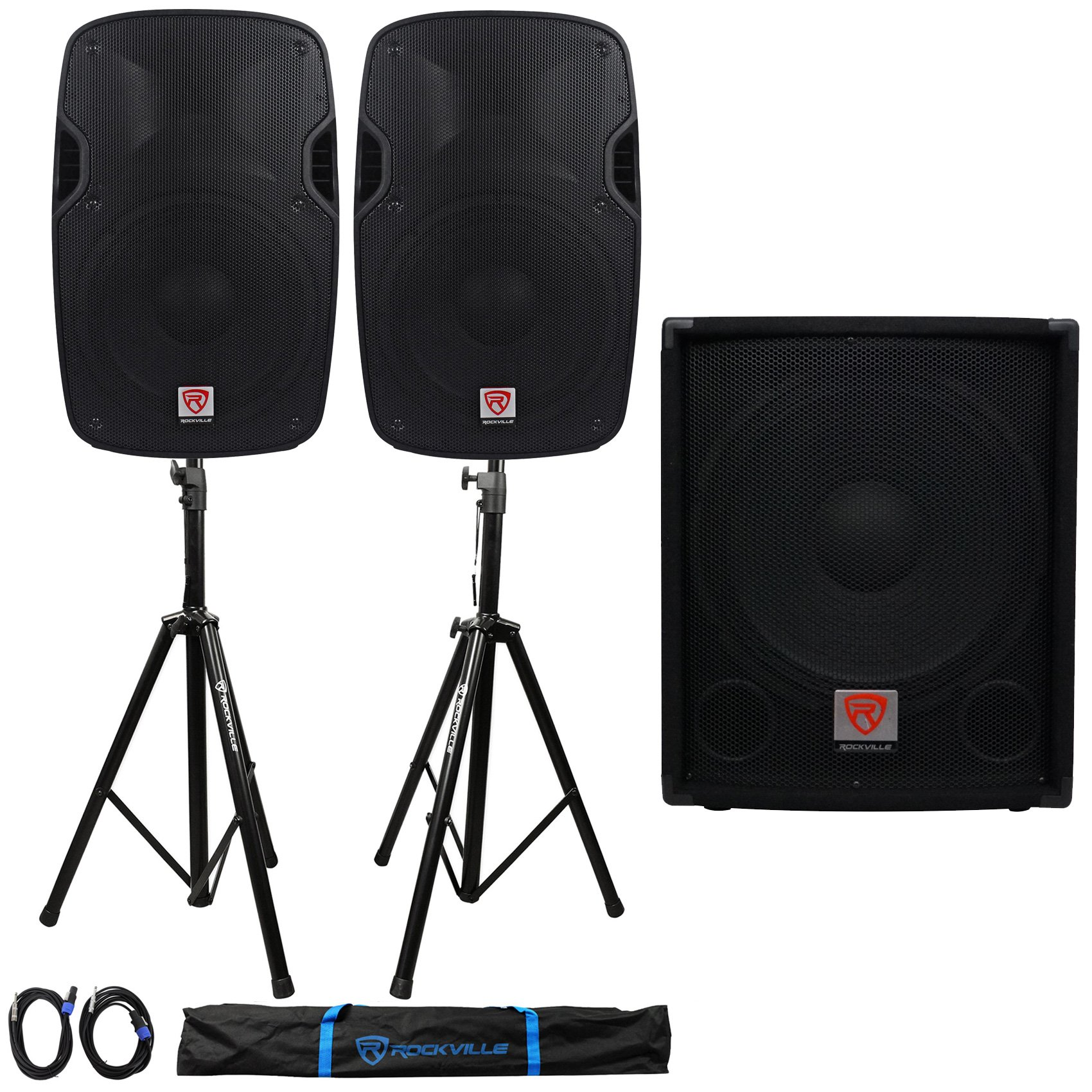 Package: (2)Rockville SPGN128 12'' Passive 8Ohm Lightweight DJ/PA Speakers 2400W Peak+15'' 700W Passive Pro DJ Sub+Pair of Adjustable Pro PA Speaker Stands+(2)1/4'' to SpeakOn NL-4 Cables+Carrying Case