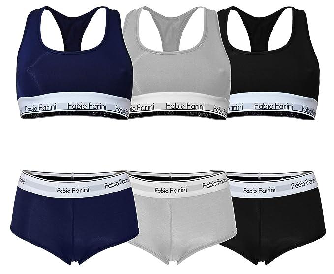 Gute Preise klare Textur Tiefstpreis Fabio Farini Sport BH Panty Set, Racerback, Bralette Schwarz, Blau, Grau