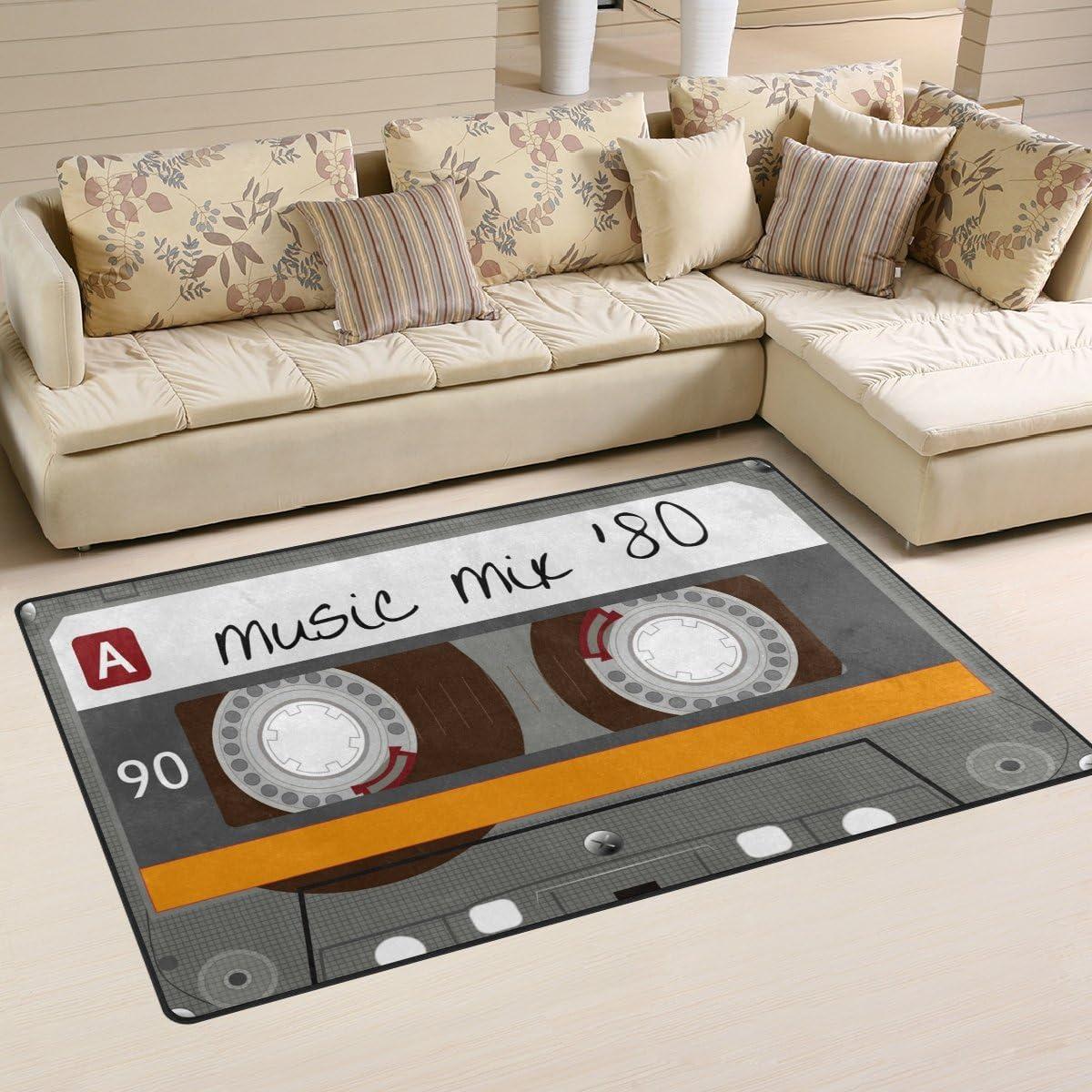 WOZO Vintage Cassette Tape Music Area Rug Rugs Non-Slip Floor Mat Doormats for Living Room Bedroom 60 x 39 inches