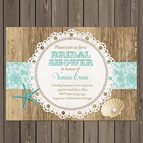 Amazon beach bridal shower invitation rustic beach and shell beach bridal shower invitation rustic beach and shell bridal shower invite in teal with doily filmwisefo Gallery