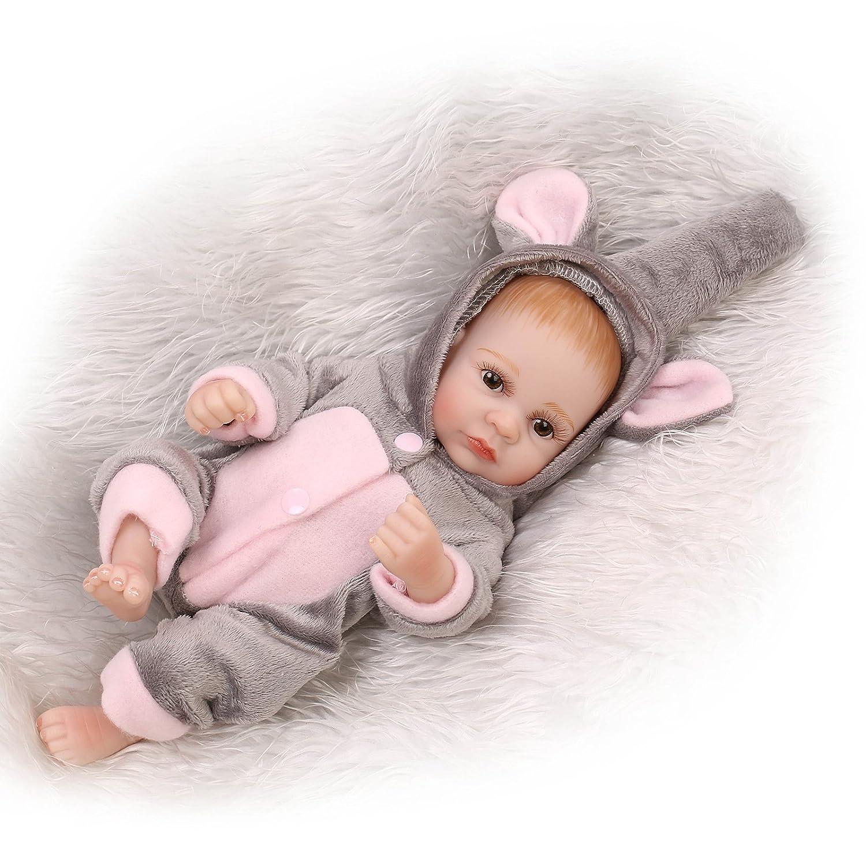 """NPK人形RebornベビーBoy 10 """" Miniフルシリコン洗濯可能リアルなハンドメイドグレー象Outfit新生児赤ちゃんギフトセットおもちゃfor Ages 3 +   B07BNHBNS9"""