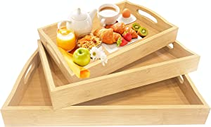 2YOU Wooden-Bamboo Serving Tray With Handles -Set Of 3 Perfect For Food, Ottoman Decor And More,100% Eco-Friendly Tv Trays for Breakfast, Brown (Large, Medium and Small)