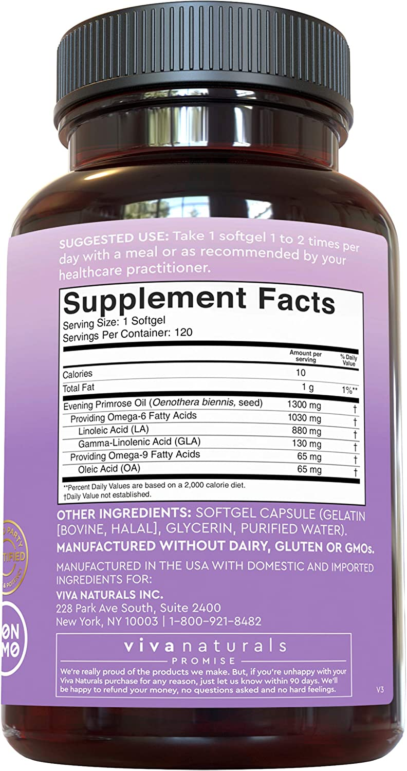 Evening Primrose Oil Capsules with GLA (1300 mg), 120 Softgels, Helps Support Hormone Balance for Women, Cold-Pressed, Gluten-Free & Non-GMO: Health & Personal Care