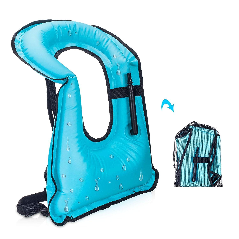 YAPA 膨張式 シュノーケルベスト 大人用 ライフジャケット ベスト ダイビング 水泳 安全 耐荷重220ポンド  ネイビー B07GRK3H78