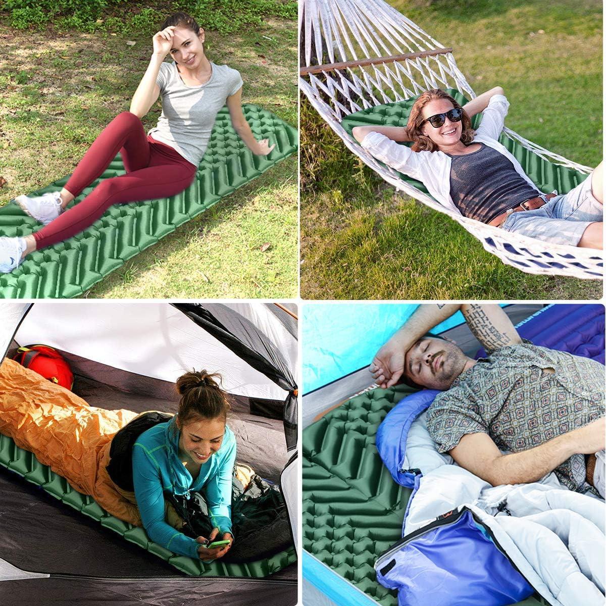 Viajes Playa Osaloe Esterilla Hinchable para Acampar Esterilla Acampada Inflable y Plegable 40D Colchoneta Impermeable para Camping Senderismo Escalada Actividades al Aire Libre