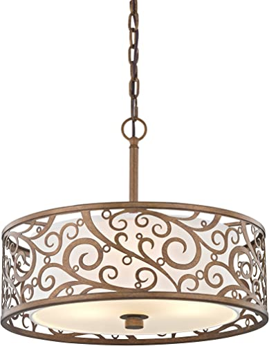 Fifth and Main HD-1073 Carousel 3 Light 18 Pendant, Burnished Gold