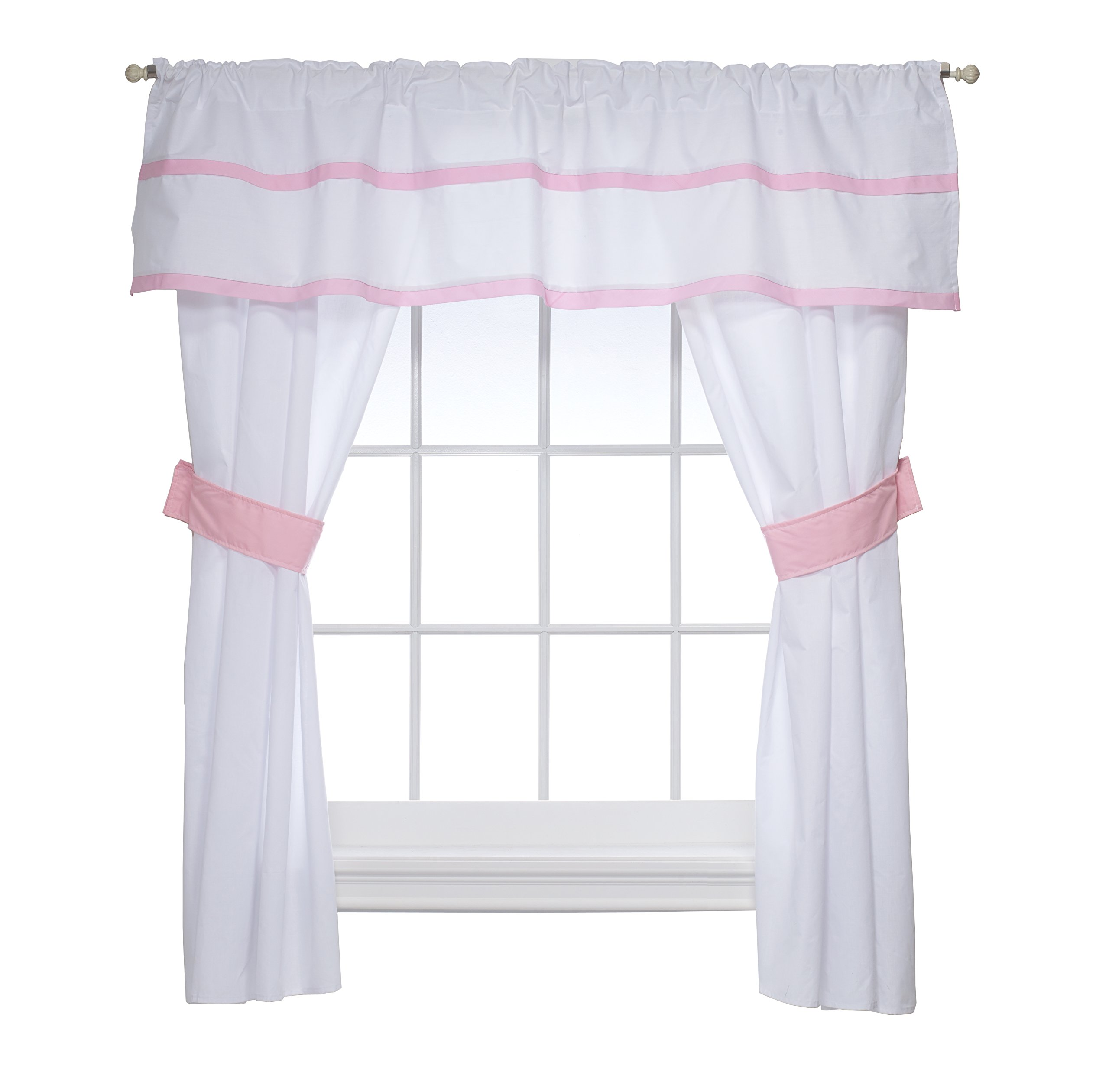 Baby Doll Medallion 5 Piece Window Valance and Curtain Set, Pink by Baby Doll