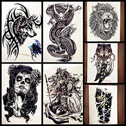 Tatuajes Temporales Adultos Negro Zarzas Lobo Con Pulsera Etiqueta ...
