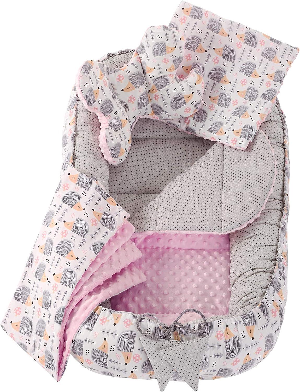 100/% algod/ón rosa Estrellas grises con rosa claro 5 piezas Talla:L Juego de nido de peluche con nido para beb/é de 90 x 50 cm coj/ín para beb/és coj/ín de gateo