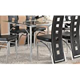 Coaster Rectangular Dining Table with Glass Top Metal Legs, Silver Finish