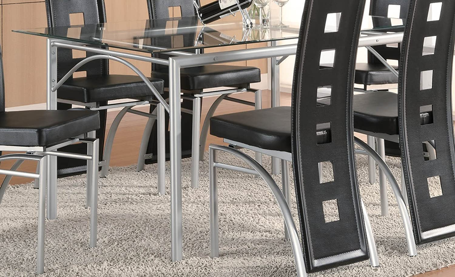 Amazon com los feliz dinning table with glass top matte silver and clear tables