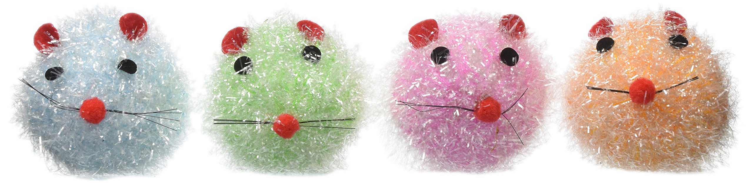 Cat-A-Lack 24-Piece Tinsel Mice Squeak Toy with Bell Jar