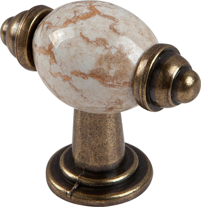 Brass finish Metal Drawer Pulls Handle Hardware w// Beige Ceramic Insert  Kitchen