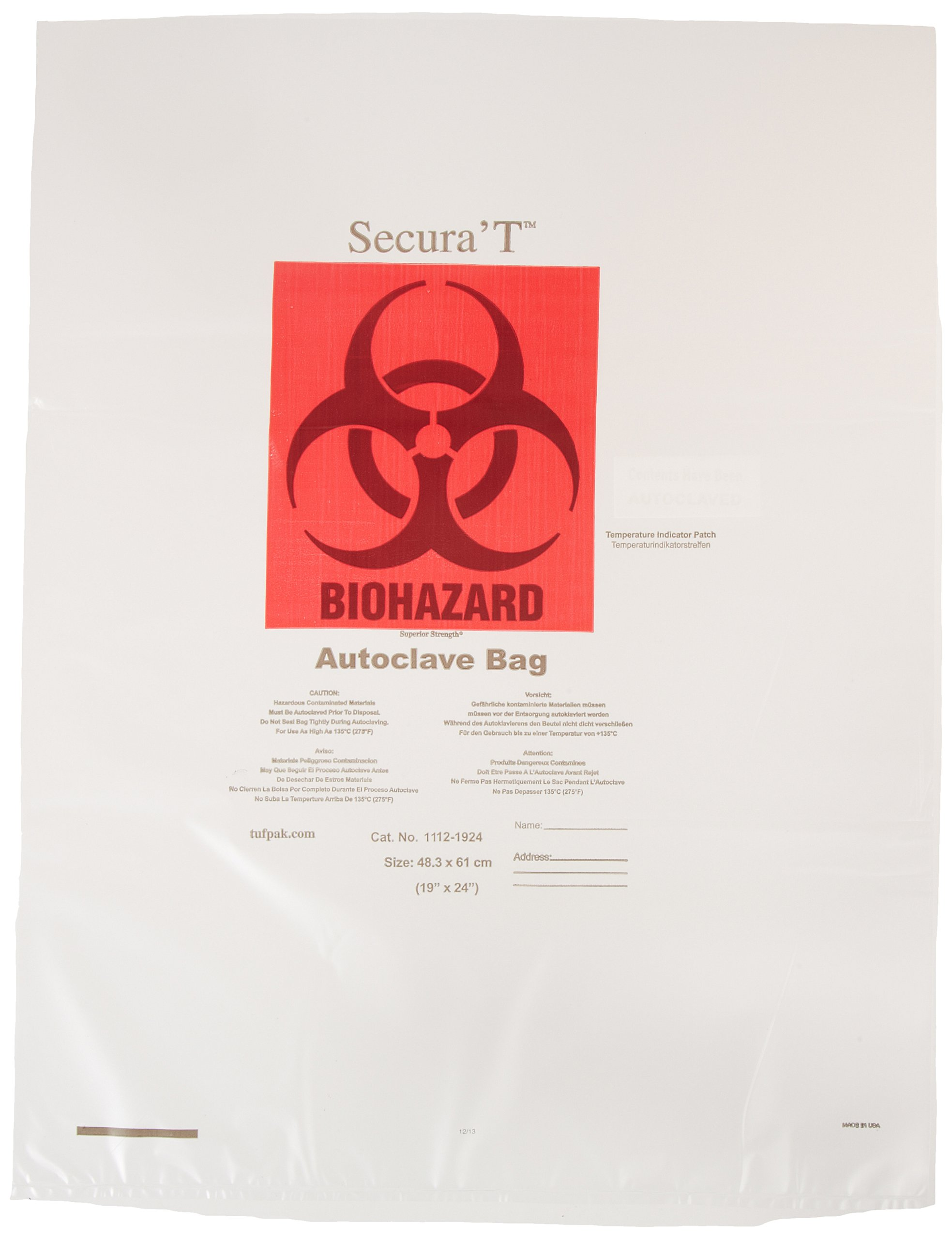 Tufpak 1112-2430 Polypropylene Autoclavable Biohazard Bag, Clear, 24'' W x 30'' H (Case of 200)