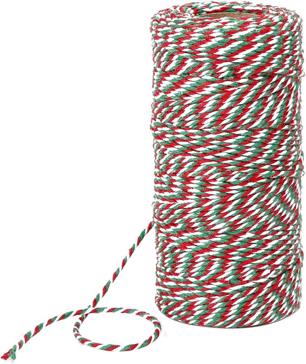 100 Metros de Cuerda de Algodón Roja, Blanca y Verde Cordel de ...