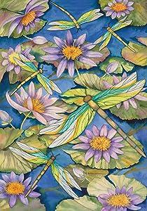 Toland Home Garden 110007 Waterlilies & Dragonflies 12.5 x 18 Inch Decorative, Garden Flag-12.5