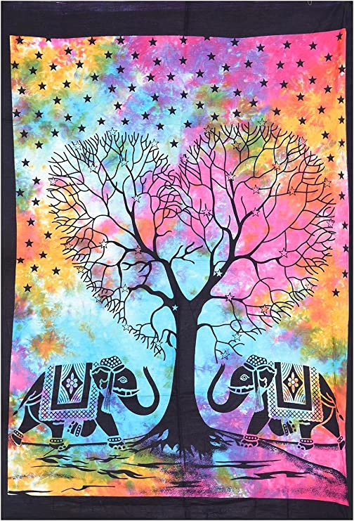 WOnderful  Home Decor colorful Tree Desgin Small Cotton Tapesty Poster Indian