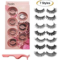 False Eyelashes 7 Styles - Professional Reusable Face Eyelashes for All Eyes, Natural Thick Hand-Made 3D Faux Mink Eyelashes with Free Precision Eyelashes Clip for a Beautiful Makeup Look (7 Pairs)