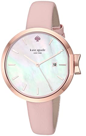 6ff4cba7a Amazon.com: kate spade new york Women's Park Row Stainless Steel  Analog-Quartz Watch with Leather Calfskin Strap, Pink, 10 (Model: KSW1325: Kate  Spade: ...