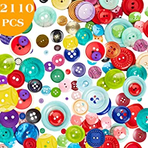 2110 PCS Assorted Bulk Buttons Mixed Colors Size Buttons for Crafts Sewing DIY Children's Manual Button Painting,DIY Handmade Ornament