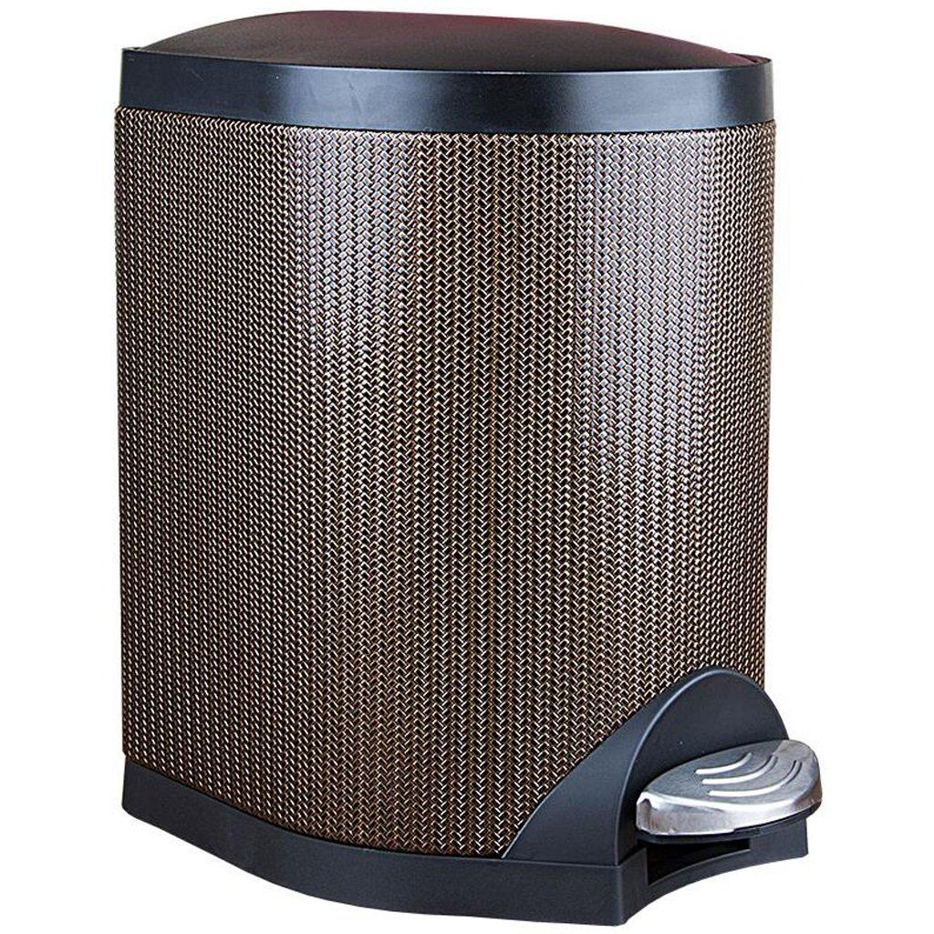 LINGZHIGAN ラッテ織り模様のゴミ箱付きリビングルームペダルクリエイティブトイレ便器クラムシェルゴミ箱レトロゴミ箱はゴミ箱に覆われています (サイズ さいず : 5L) B07L1NS1Y1  5L