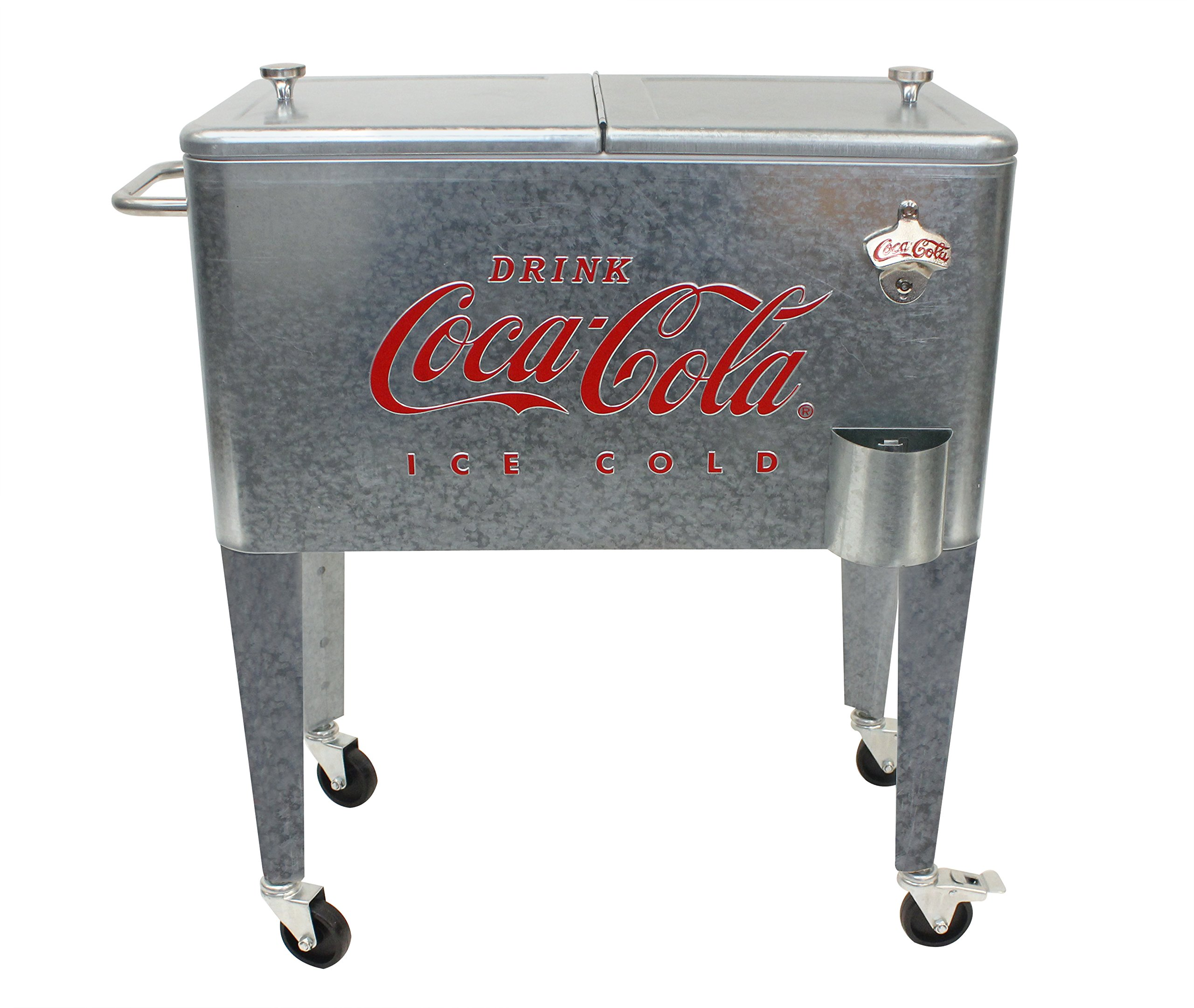 Leigh Country CP 98104 Galvanized Coca-Cola Rolling Cooler, 60 Quart, by Leigh Country