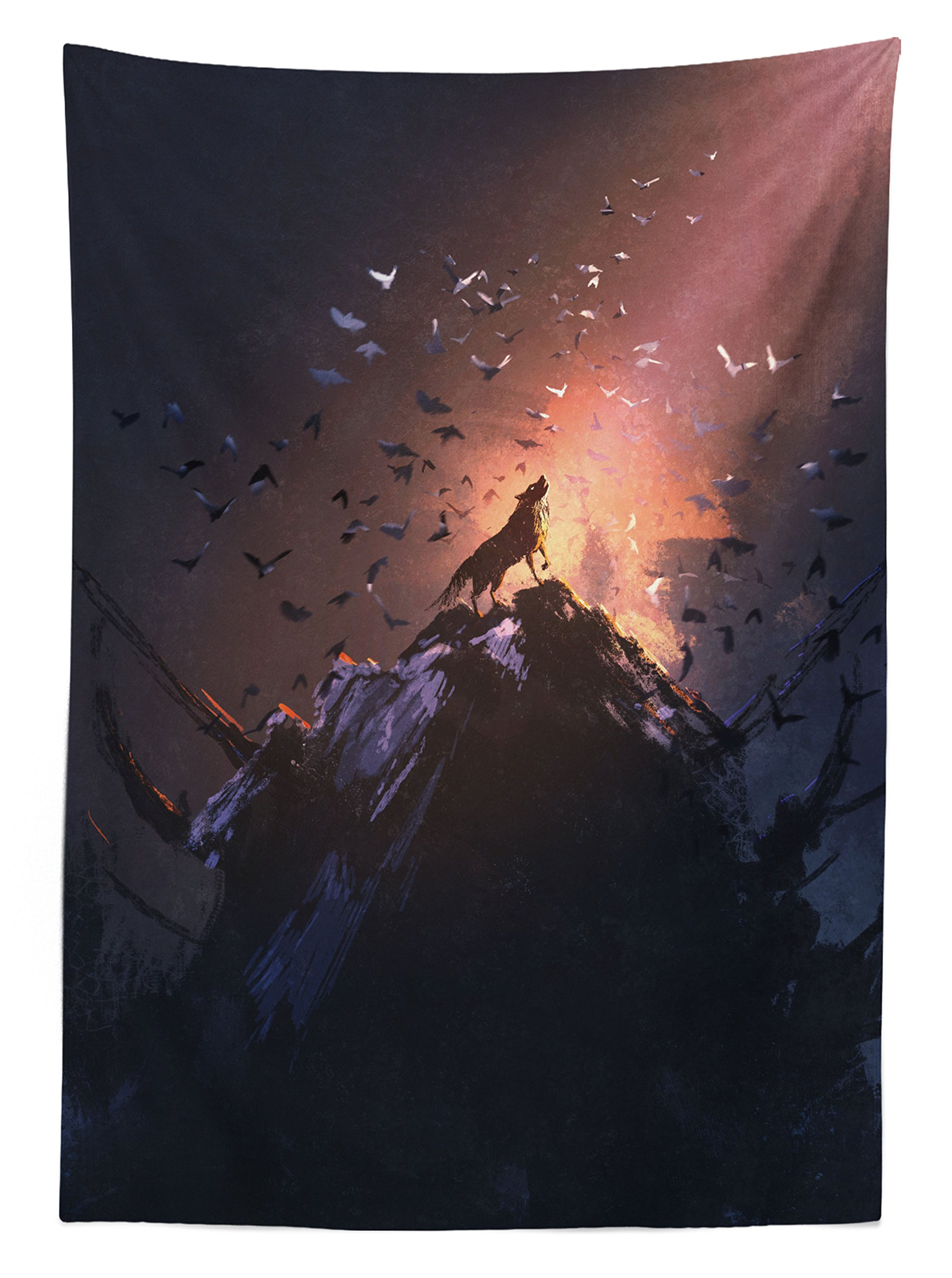 Ambesonne Fantasy World Decor Tablecloth, Howling Wolf on a Rock Surrounded by Bats Birds Scary Dog Wild Life Animals Picture Art, Rectangular Table Cover for Dining Room Kitchen, 52x70 inch, Multi by Ambesonne (Image #2)